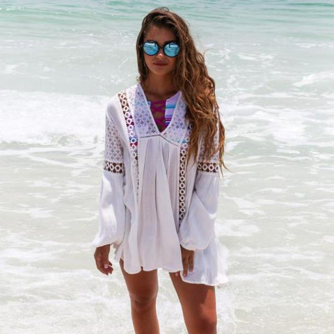 White Boho Beach Hollow Out Dress