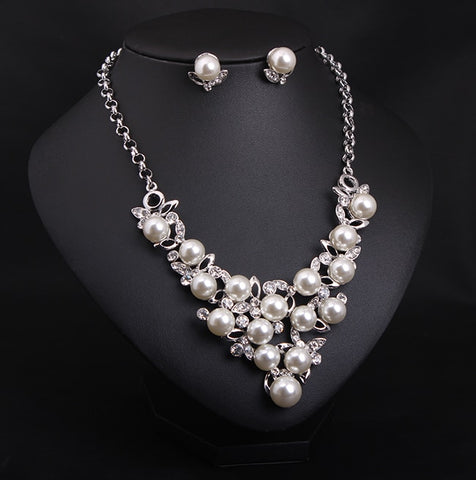 Bridal Pearls Crystal Jewelry Set - BellaSmyle