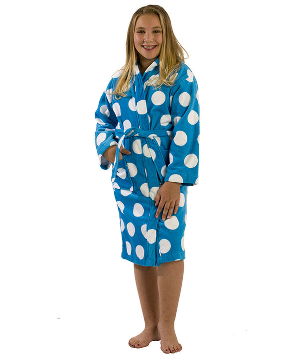Cotton Hooded Girls Polka Dot Bathrobes