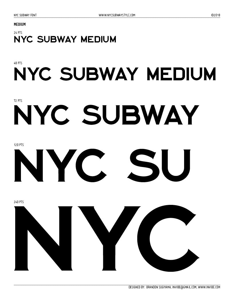 NYC Subway Typeface: Medium Font