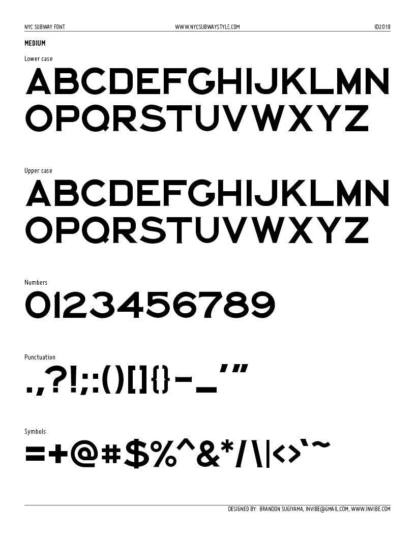 NYC Subway Style Typeface: BOTH Medium and Monospaced