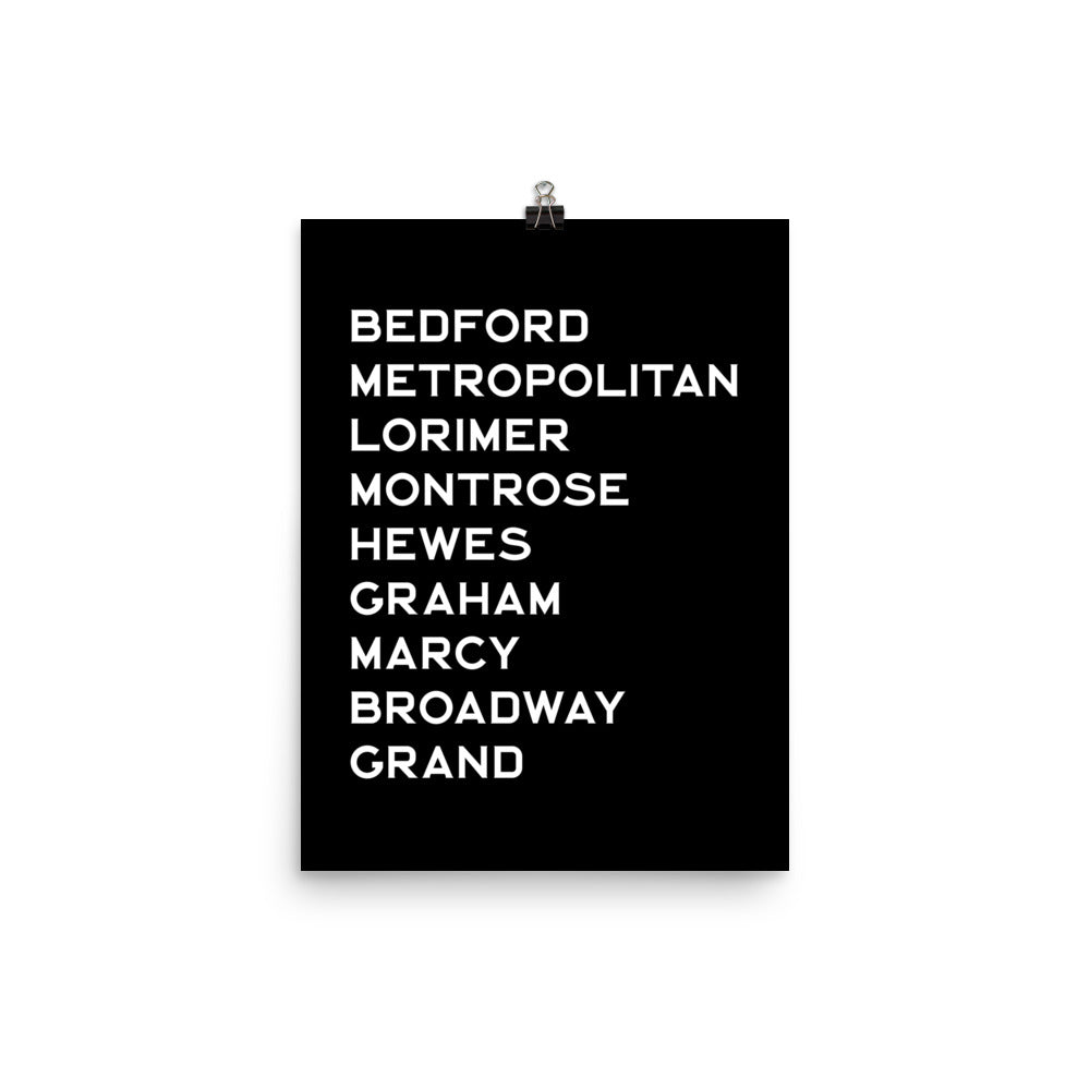 WILLIAMSBURG: White Text Poster