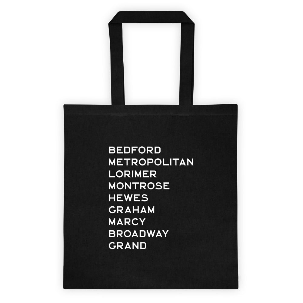 WILLIAMSBURG: Black Canvas Tote bag