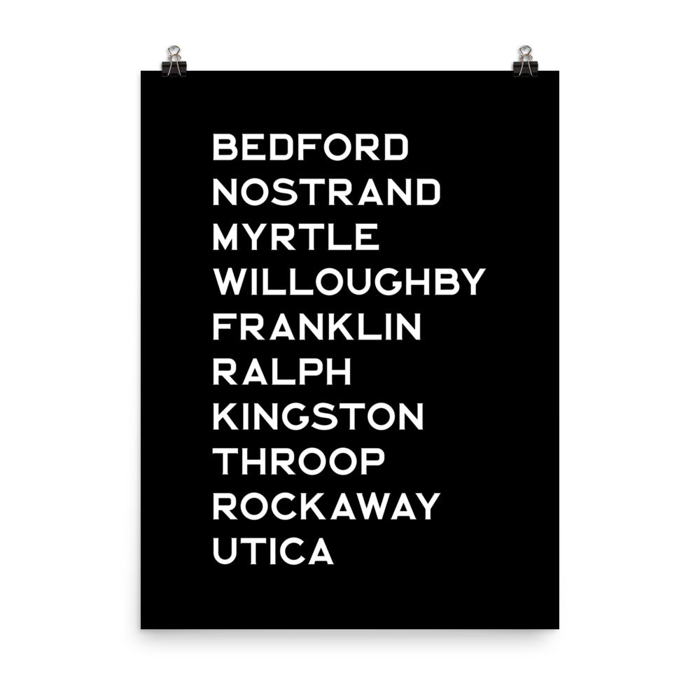 BED-STUY: White Text Poster