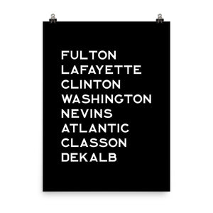 FORT GREENE & CLINTON HILL: White Text Poster