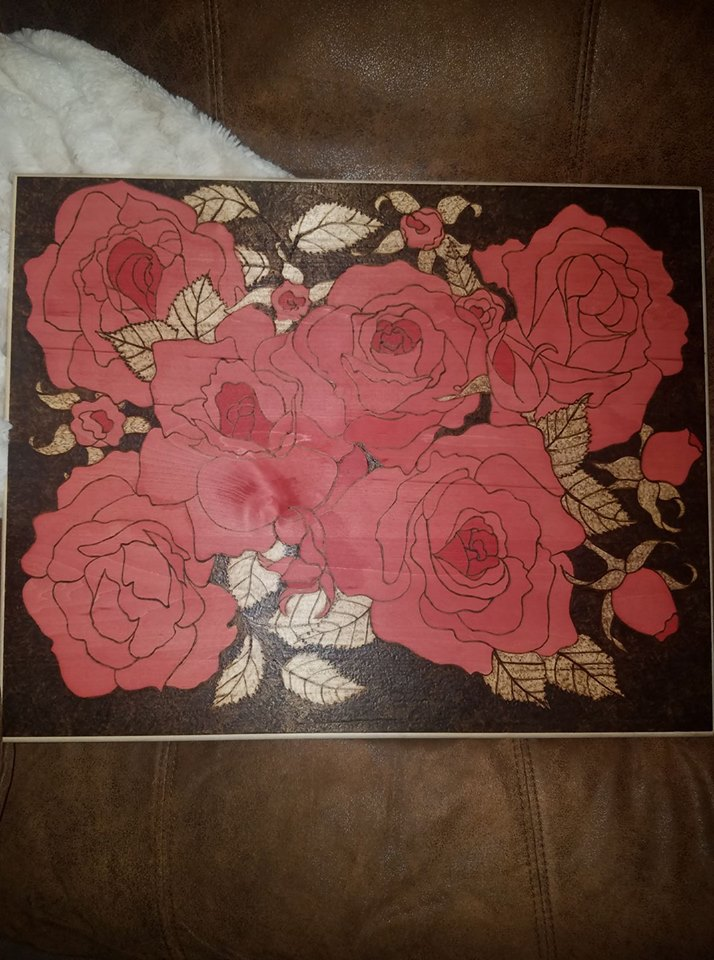Rose pyrography plaque - Odin's Eye Art, Pyrography - woodburning, Odin's Eye Art - Odin's Eye Art