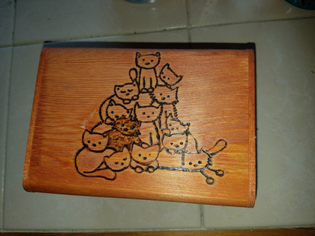 Stack of kitties box - Odin's Eye Art, Pyrography - woodburning, Odin's Eye Art - Odin's Eye Art