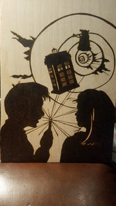 The doctor and rose - Odin's Eye Art,  - woodburning, Odin's Eye Art - Odin's Eye Art