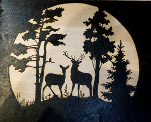 Deer in moonlight - Odin's Eye Art,  - woodburning, Odin's Eye Art - Odin's Eye Art