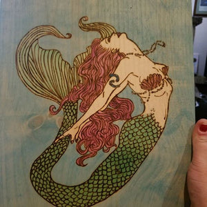 Mermaid - Odin's Eye Art, Pyrography - woodburning, Odin's Eye Art - Odin's Eye Art