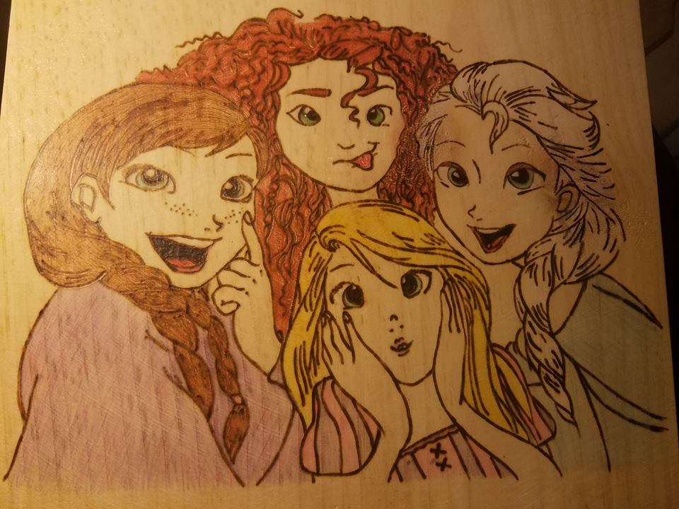Anna, Elsa, Merida and Rapunzel Plaque - Odin's Eye Art, Pyrography - woodburning, Odin's Eye Art - Odin's Eye Art