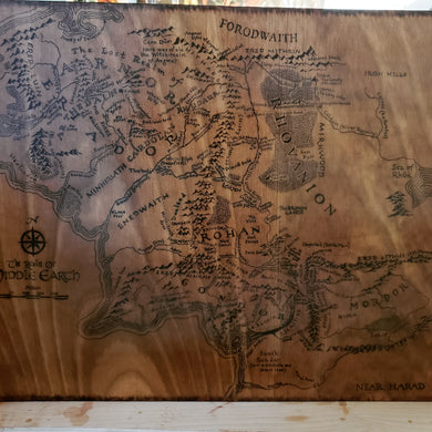 Map of Middle Earth - Odin's Eye Art, Pyrography - woodburning, Odin's Eye Art - Odin's Eye Art