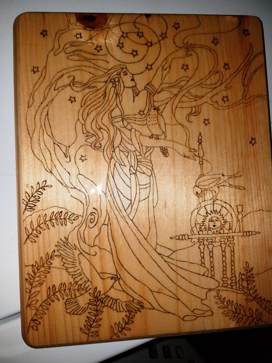 Frigg (wife of Odin) - Odin's Eye Art, Pyrography - woodburning, Odin's Eye Art - Odin's Eye Art