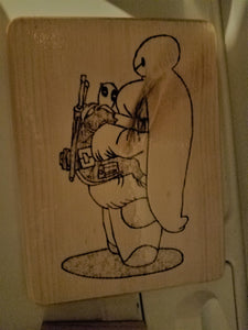 Deadpool loves Baymax - Odin's Eye Art, Pyrography - woodburning, Odin's Eye Art - Odin's Eye Art
