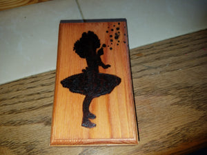 Girl blowing bubbles box - Odin's Eye Art, Pyrography - woodburning, Odin's Eye Art - Odin's Eye Art