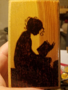Girl Reading box - Odin's Eye Art, Pyrography - woodburning, Odin's Eye Art - Odin's Eye Art