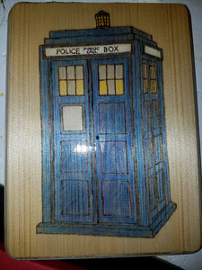 TARDIS Police Box - Odin's Eye Art, Pyrography - woodburning, Odin's Eye Art - Odin's Eye Art