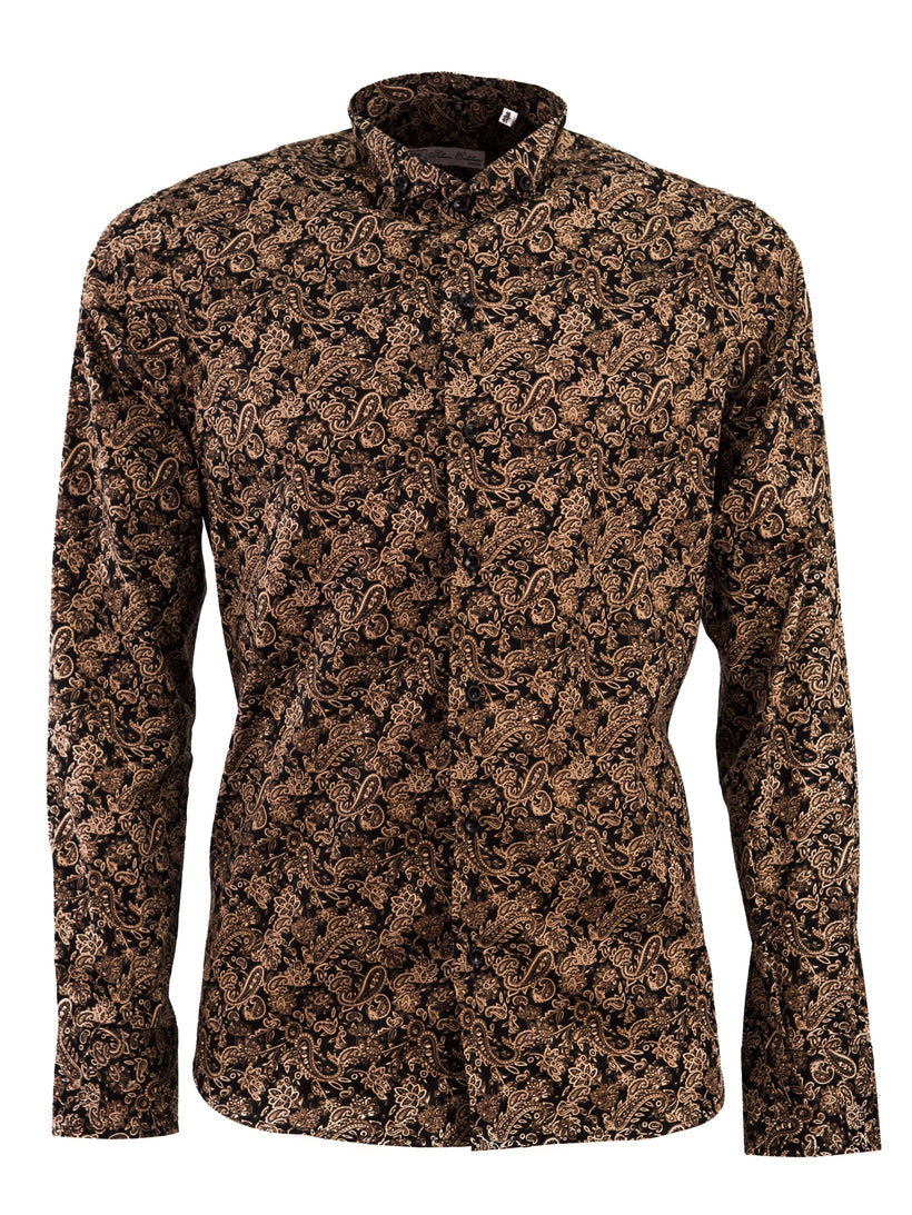 ce2fcf2ad6c Shirts - Black   Gold Floral Pattern Shirt With Diplomatic Button Down  Collar