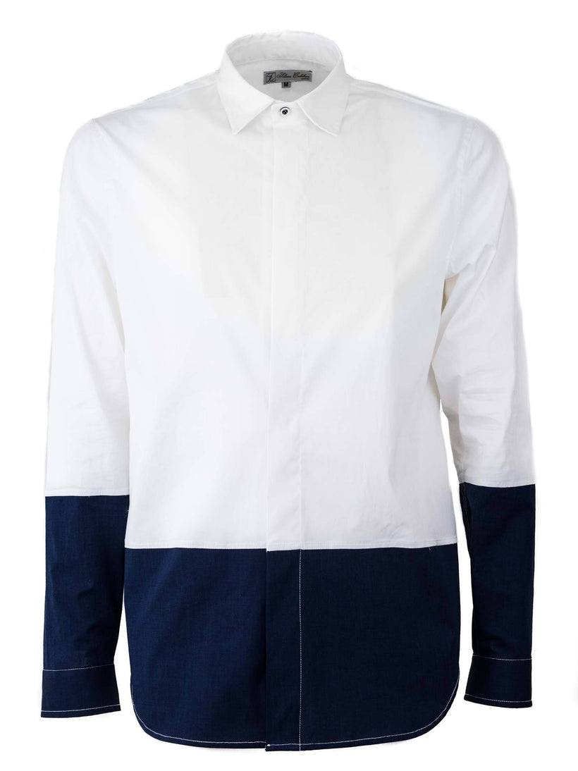 Regular Fit Longline Shirt With Tight Cut In Blue