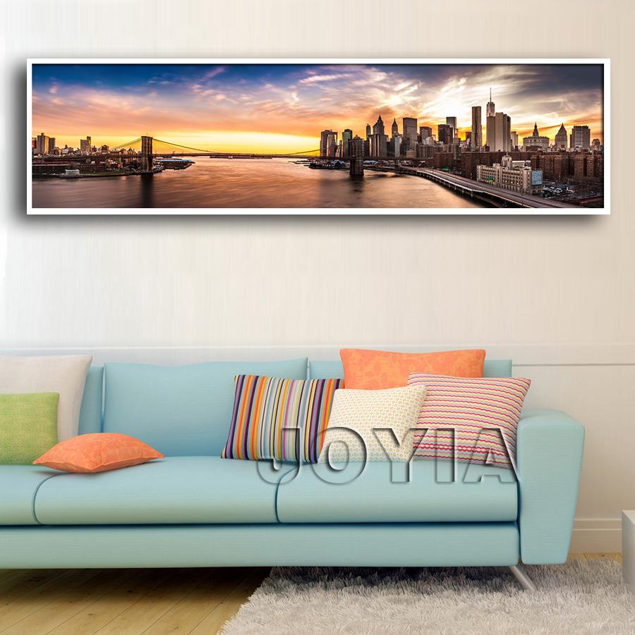 Brooklyn bridge panorama canvas painting prints new york nightfall brooklyn bridge panorama canvas painting prints new york nightfall city wall picture for modern home decor huge size no frame jeuxipadfo Gallery