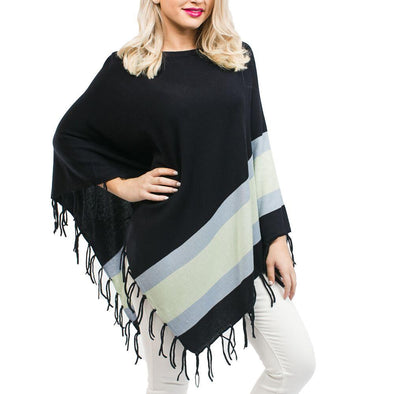 Poncho Fringe Navy with Blue and Green Stripes