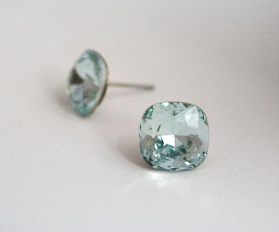 Crystal Cushion Cut Studs - Light Azure