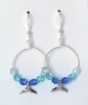 Whale Hoops - Blue Silver