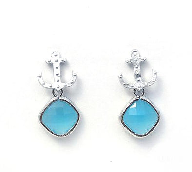Anchor Drop Studs - Ocean Silver