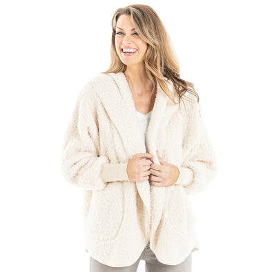 Cardigan Body Wrap w/ Hoodie & Pockets - Oatmeal