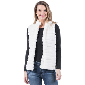 VEST FAUX RABBIT WITH POCKETS - CREAM