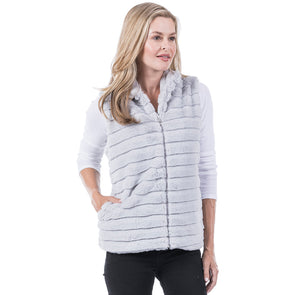 VEST FAUX RABBIT WITH POCKETS - GRAY