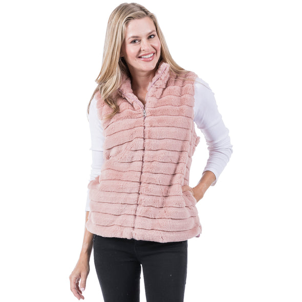 VEST FAUX RABBIT WITH POCKETS - PINK