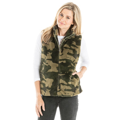 VEST FAUX FUR WITH POCKETS - CAMO