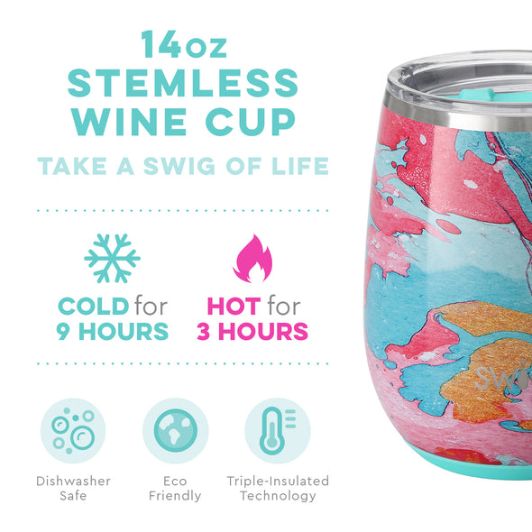 STEMLESS WINE CUP 14OZ COTTON CANDY