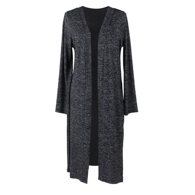 CARDIGAN LONG HEATHERED BLACK