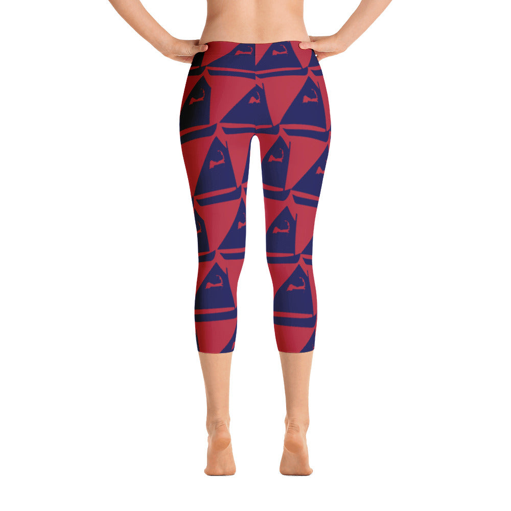 Sail Away Capri Cranberry & Navy Leggings