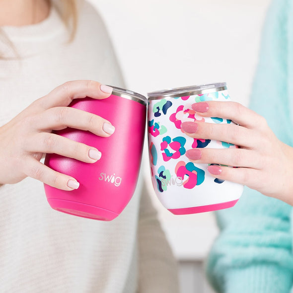 STEMLESS WINE CUP 14OZ MATTE HOT PINK