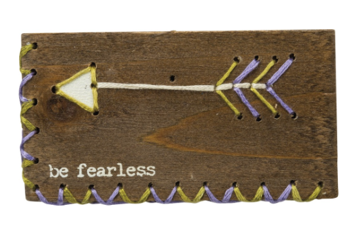 BE FEARLESS STITCHED BLOCK/MAGNET