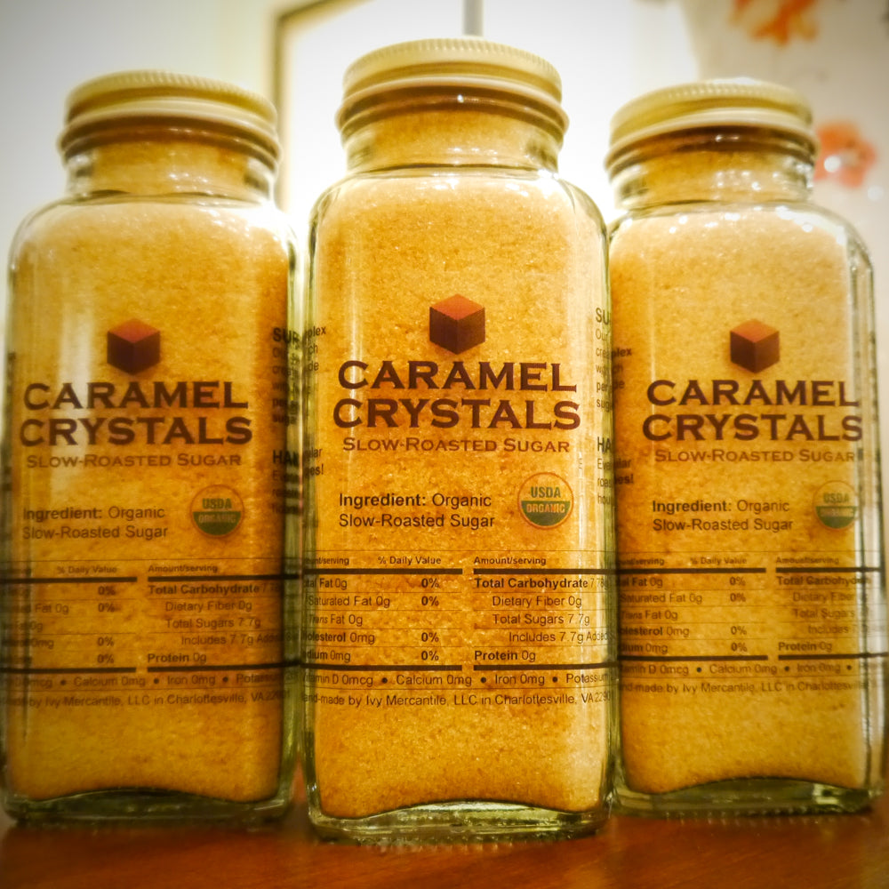 Caramel Crystals Organic Slow-Roasted Sugar 8oz Bottle