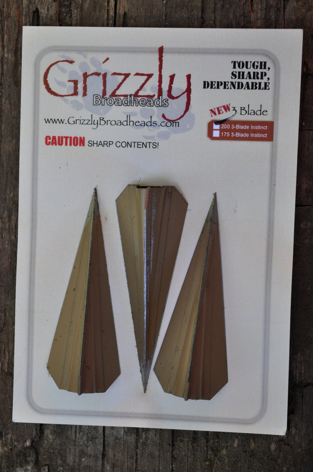 Grizzly Instinct, 3 Blade, Glue On Broadheads