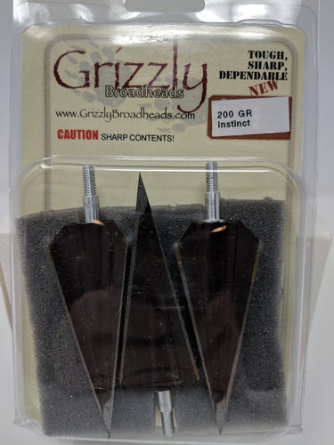 Grizzly Instinct, 3 Blade, Screw In Broadheads, 3 pack