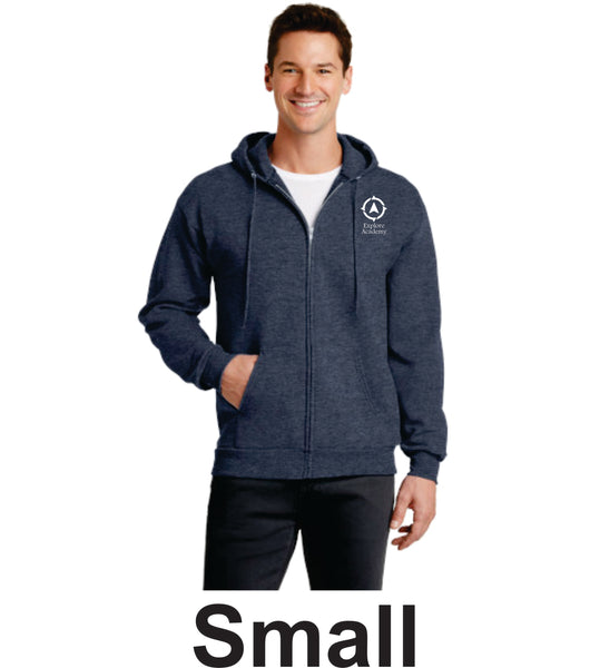 Explore Academy Core Fleece Adult Hooded Zip Up Sweatshirt  Small