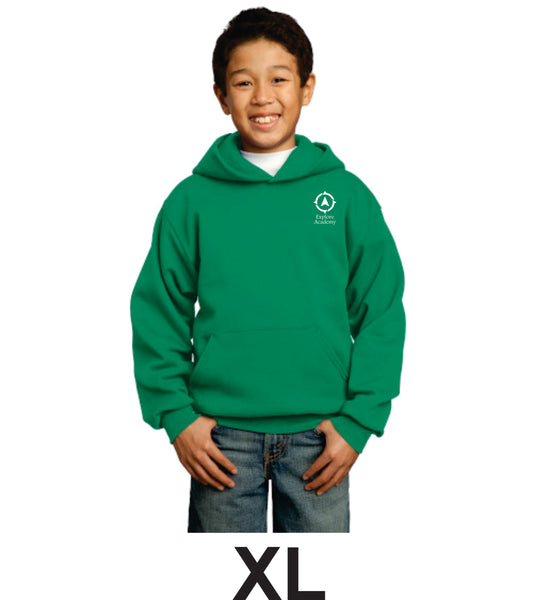 Explore Academy Youth Core Fleece Pullover Hooded sweatshirt Extra Large (XL)