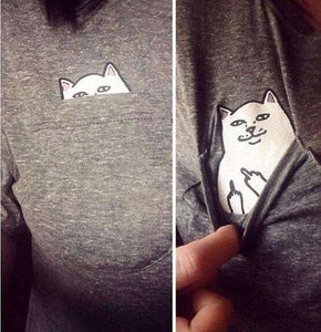 MyFancySauce:The Best-Selling Cat Pocket Tee,Grey / S