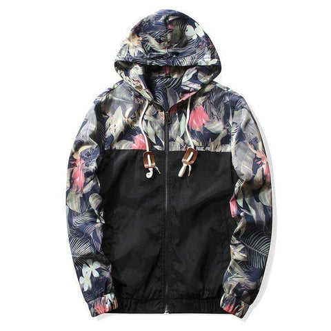MyFancySauce:Special Edition - Black Hawaii Floral Hood Jacket,M