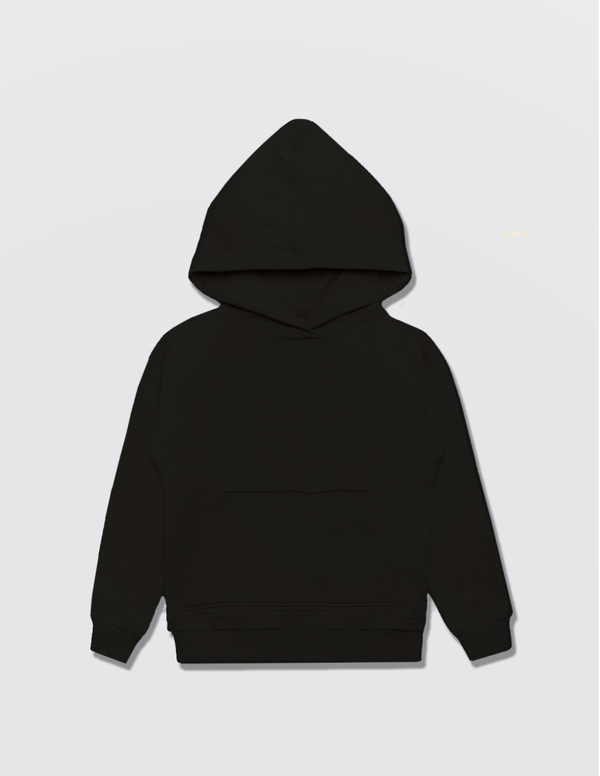 Black hoodie made out of recycled cotton with the Kambia Kids logo embroidered on the back
