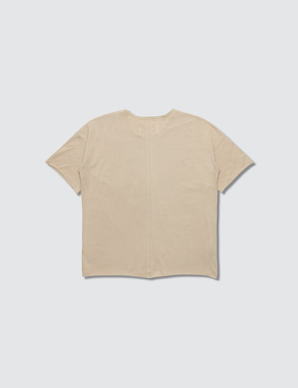 Tan crewneck short sleeve tee with a seam down the front middle