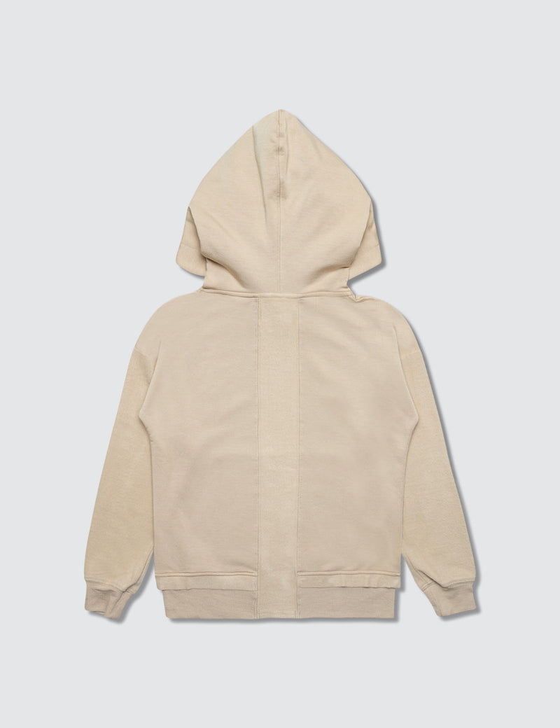 Tan hoodie made out of recycled bamboo with the Kambia Kids logo embroidered on the back