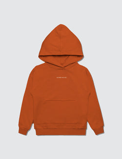 Orange hoodie made out of recycled bamboo with the Kambia Kids logo embroidered on the top front of the neck