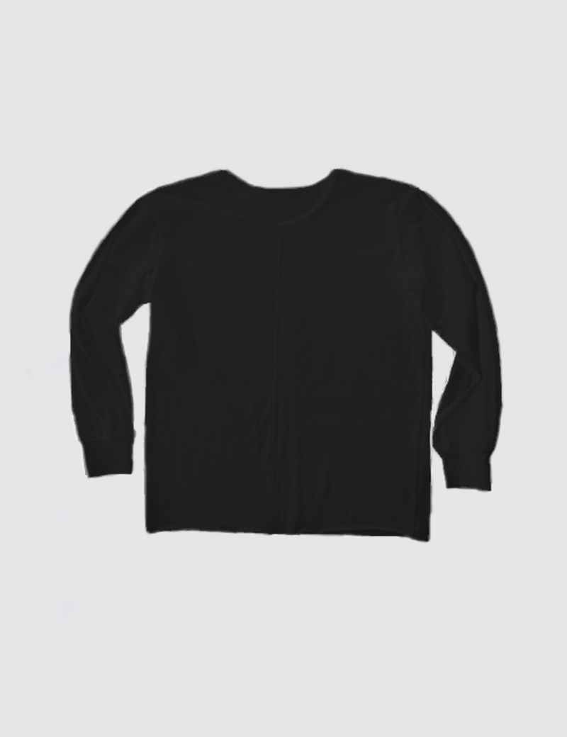 Black crewneck long sleeve tee